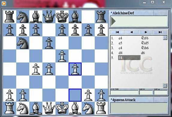 Four pawns attack in Alekhine's defence - download video
