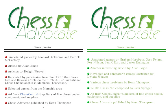 Chess Advocate. Vol. 1. Number 1, 2
